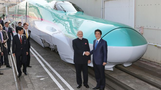 Modi and Abe with bullet train