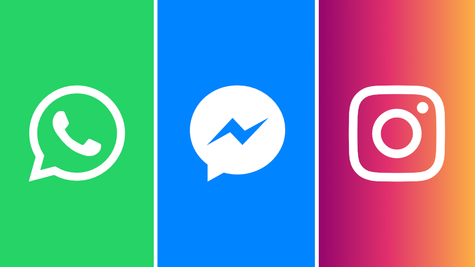 Logos de WhatsApp, Messenger and Instagram