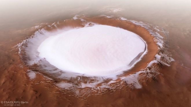 A picture of the Korolev crater on Mars released by the European Space Agency