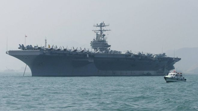 US sends aircraft carrier and bomber task force to \'warn ...