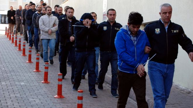 Suspects arrive at police headquarters in Kayseri