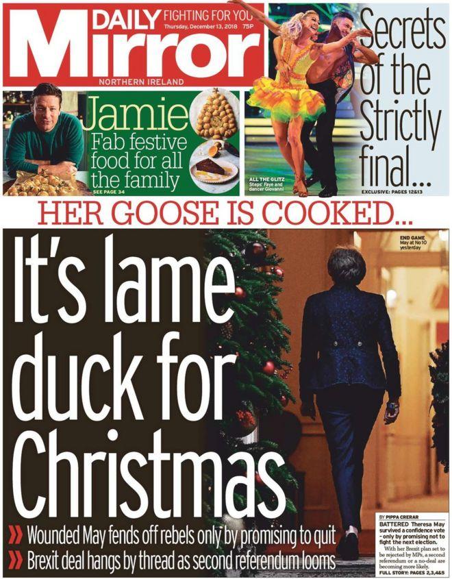 Ni Newspaper Lame Duck Theresa May Survives The Chop Bbc News