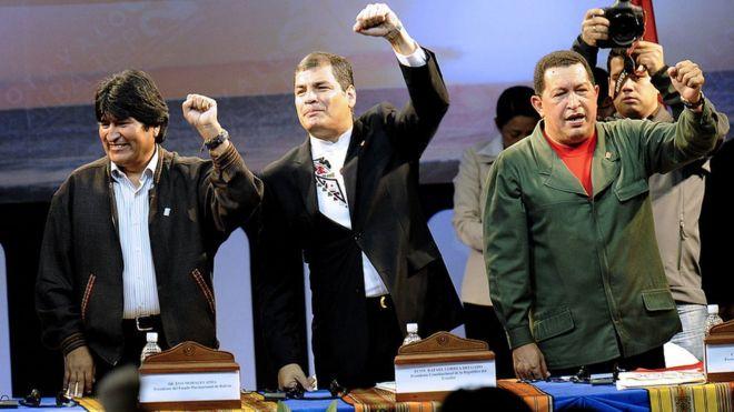 Evo Morales, Rafael Correa y Hugo Chávez.