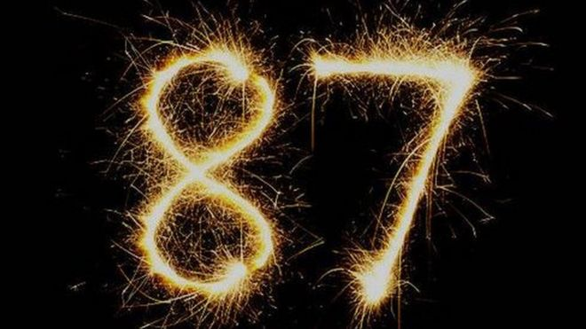 the number 87 written by a sparkler