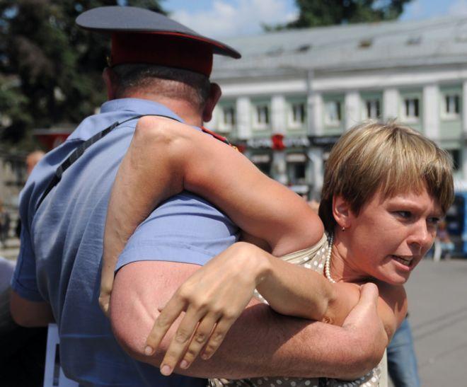 Chirikova at a Khimki protest in 2011