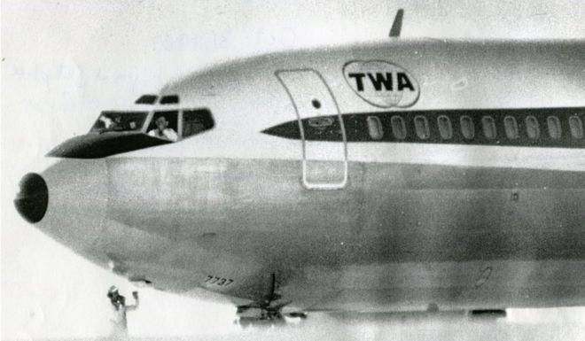 TWA Flight 85 on the runway in Bangor, Maine