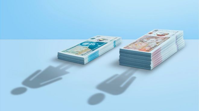 Cash piles with shadow of woman and man - gender pay gap