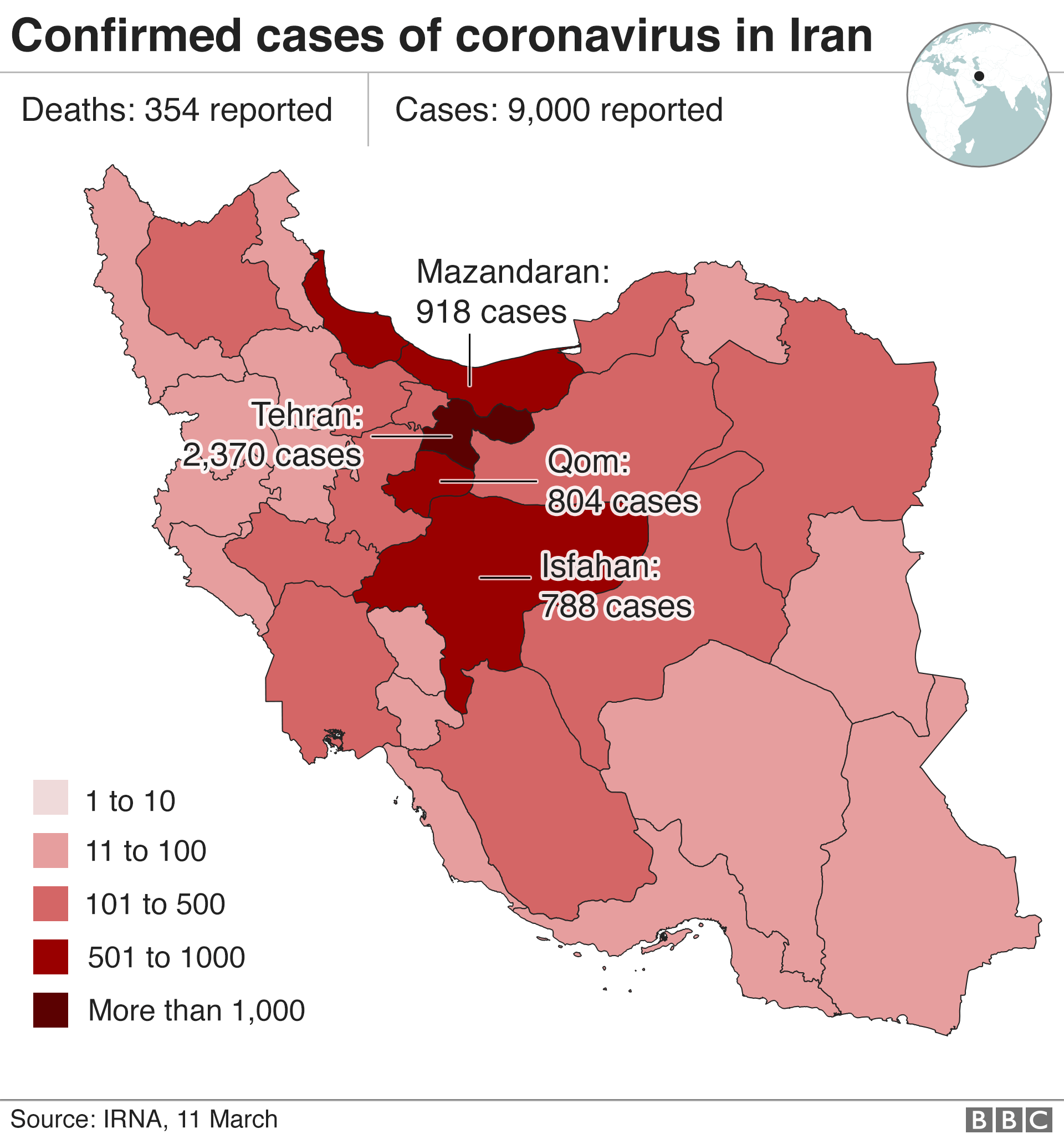 Map showing cases in Iran as of 11 March
