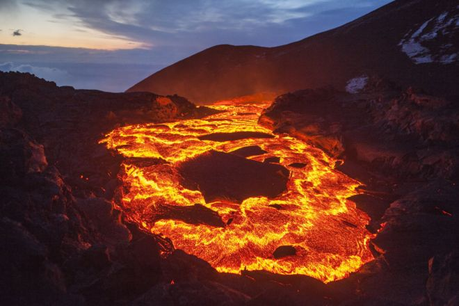 Lava em um vulcão