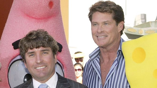 david hasselhoff and tony hawk pay tribute to spongebob creator