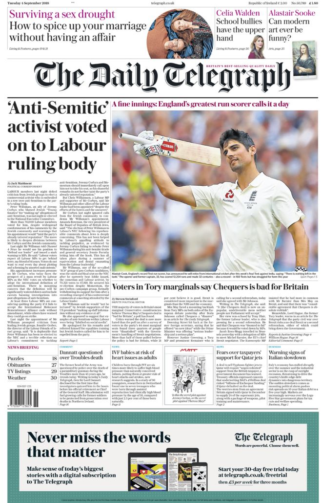 Daily Telegraph front page - 04/09/18