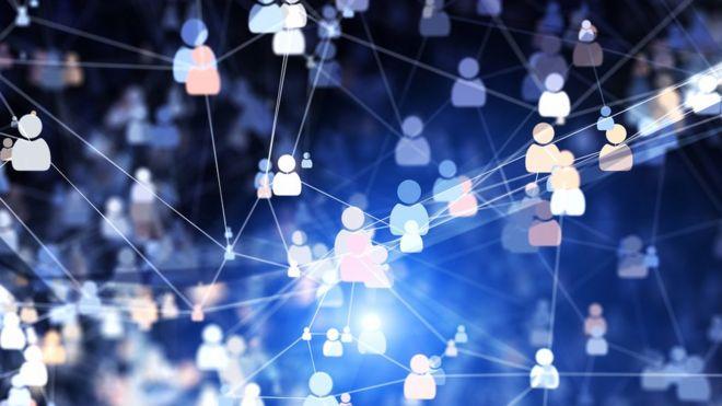 Ilustração mostra conexões entre usuários de rede