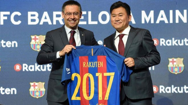 63a98fc1f Barcelona signs sponsorship deal with Rakuten - BBC News