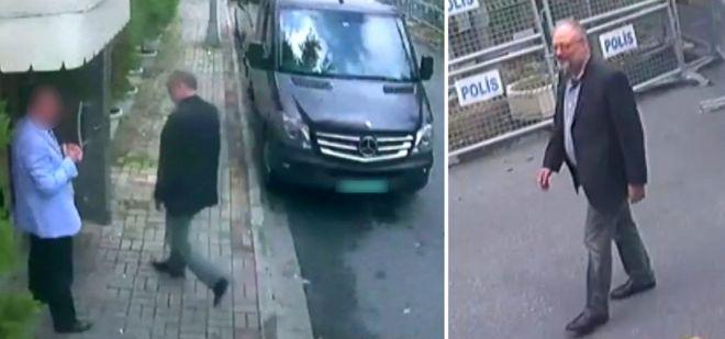 Джамаль Хашоггі заходить до будівлі консульства Саудівської Аравії (кадр з камери відеоспостереження)