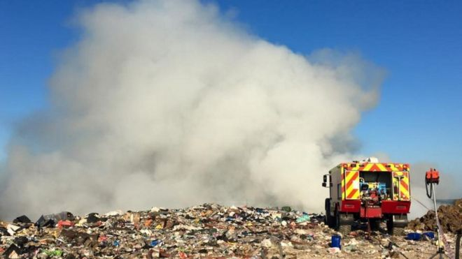 Fire crews tackle Wareham landfill fire - BBC News