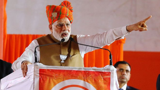 Prime Minister Narendra Modi addressing the election campaign rally ahead the state assembly polls , in Jaipur , Rajasthan, India , Dec 04,2018.