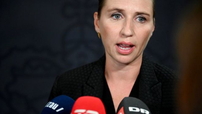 Danish Prime Minister Mette Frederiksen speaking at a press conference after the explosions last week