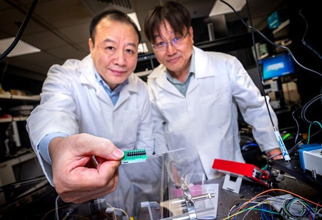 Los profesores de NTU Liu Ai Qun (izq.) y Kwek Leong Chuan.