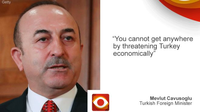 "Turkish foreign minister on left, quote ""You cannot get anywhere by threatening Turkey economically"""