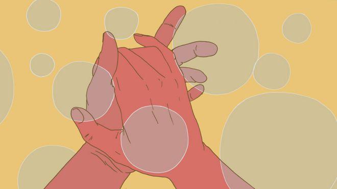 Ilustración de manos lavándose