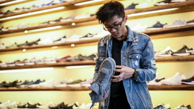 A man in a shoe shop