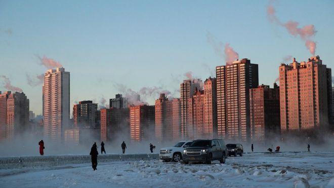 Vista de Chicago no frio