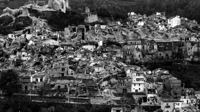 Village destroyed in the 1980 Irpinia earthquake