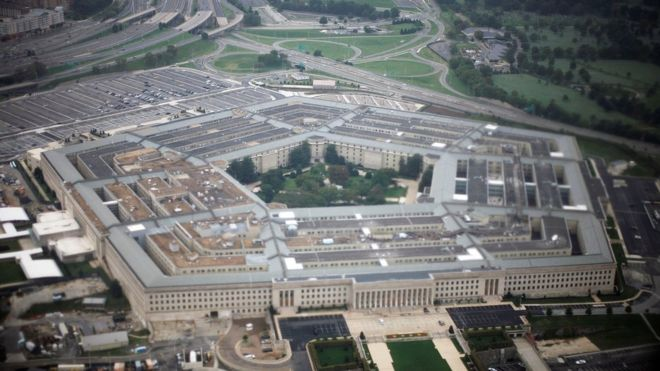 Aerial view of the United States military headquarters, the Pentagon
