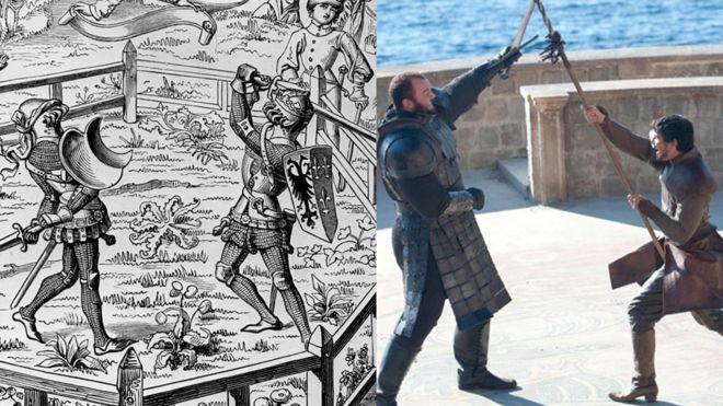 Montagem com cena de combate em 'Game of Thrones' e ilustração de julgamento por combate em tempos medievais