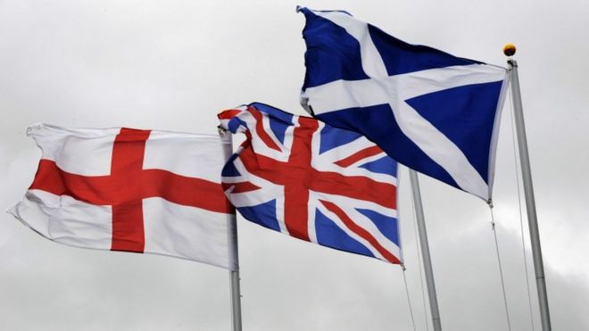 St George flag, Union Jack flag and the Saltire flag