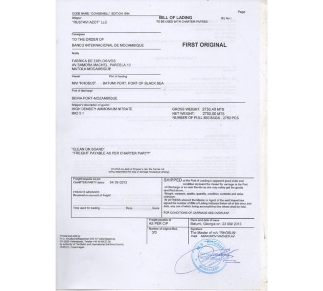 Recibo de la carga que registra a Rustavi Azot LLC como la compañía que provee el nitrato de amonio e indica que el cliente es el Banco Internacional de Mozambique