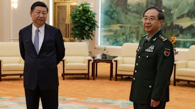 China's President Xi Jinping and General Fang Fenghui, chief of the general staff of the Chinese People's Liberation Army in 2017
