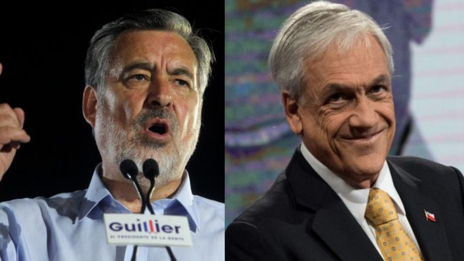 Alejandro Guillier y Sebastián Piñera.