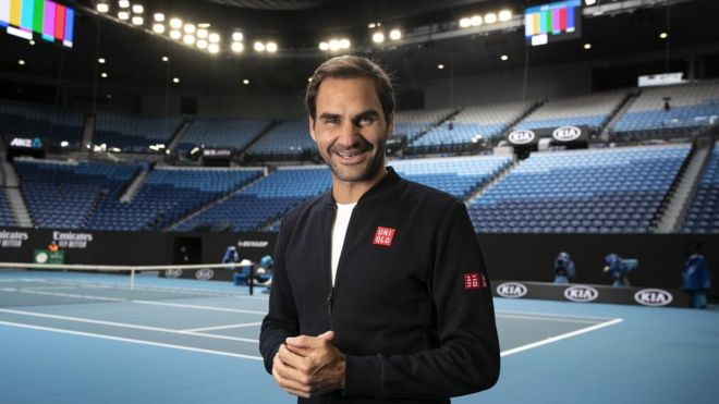 Roger Federer of Switzerland posing for a photo during a practice session ahead of the Australian Open tennis tournament at Rod Laver Arena in Melbourne, Victoria, Australia, 11 January 2020.