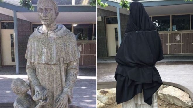 A split image showing the statue before and after it was covered up
