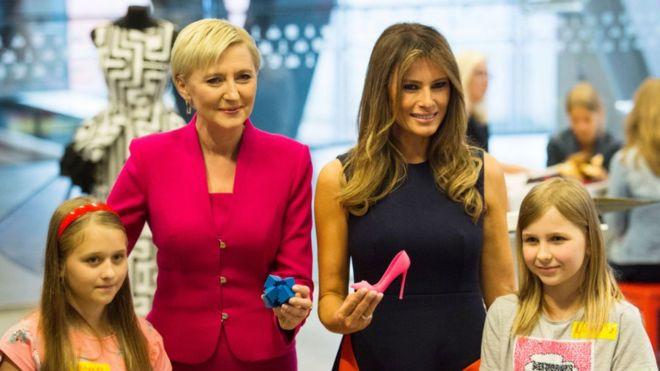 Мелания Трамп и первая леди Польши Агата Дуда