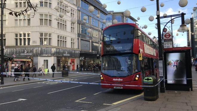 Bus Inside Police Cordon On Oxford Street