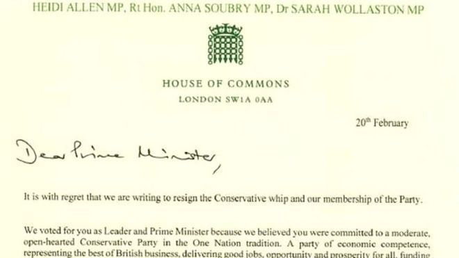 In full: Tory MPs' resignation letter - BBC News