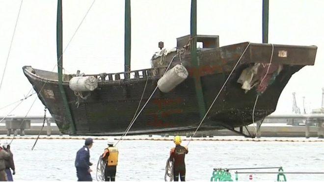 Image result for Images of North Korean boats found in Japan on Nov. 27, 2017