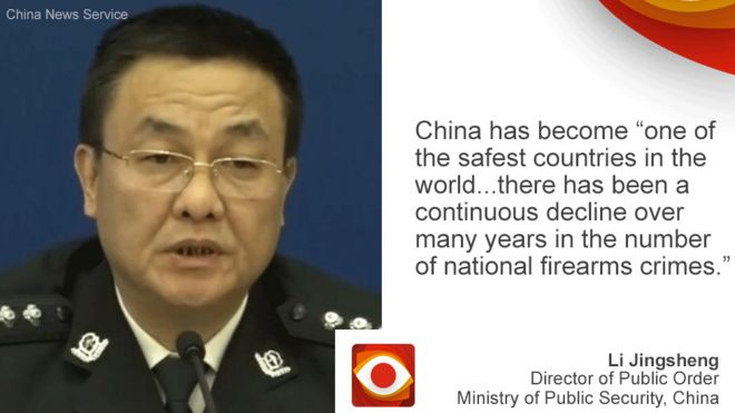 """Chinese official on left, quote: China has become """"one of the safest countries in the world..."""" on right"""