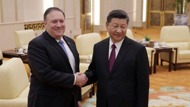 Ngoại trưởng Mỹ Mike Pompeo gặp Chủ tịch Trung Quốc Tập Cận Bình tại Bắc Kinh năm 2018