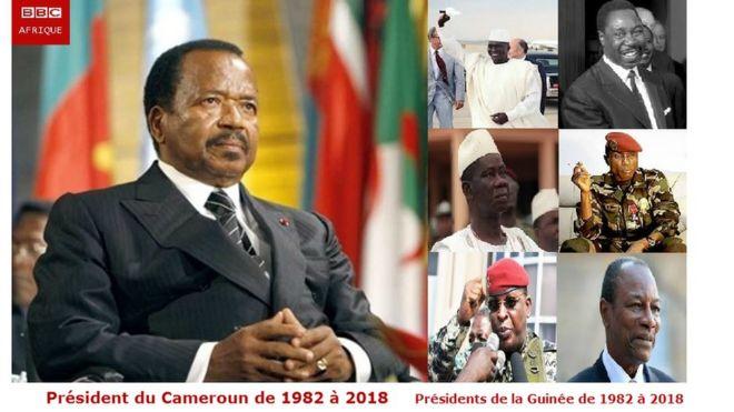 Paul Biya a été l'homologue de six présidents Guinéens; Sékou Touré, Paul Béavogui, Lansana Conté, Moussa Dadis Camara, Sékouba Konaté et Alpha Condé.