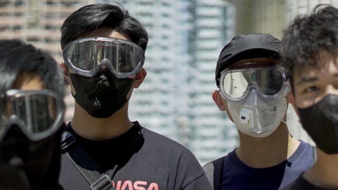 Estudantes antes de manifestação em Hong Kong