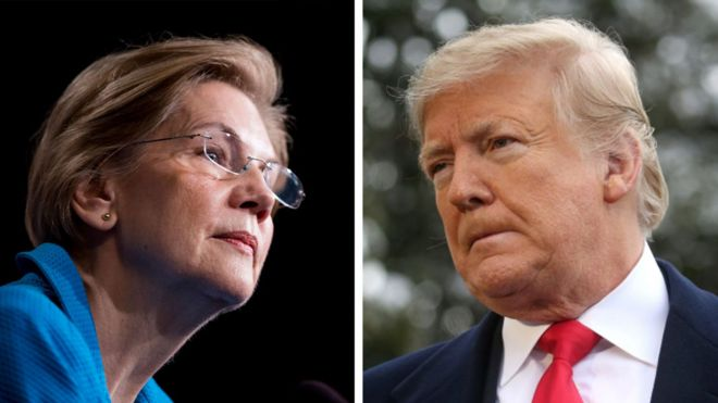 Composite image of Warren and Trump