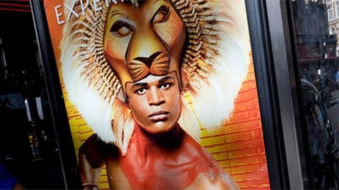 Andile Gumbi on poster for The Lion King musical