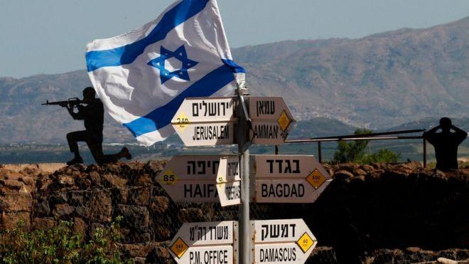 Израильский флаг и указатель направлений