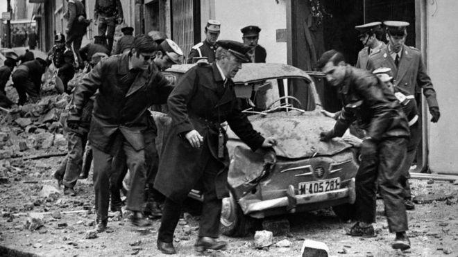 Ataque a bomba do ETA que matou o premiê espanhol, Luis Carrero Blanco, em dezembro de 1973
