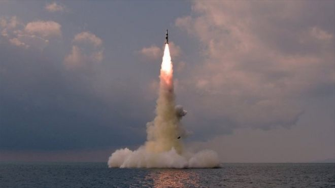 A photo released on 19 October by KCNA apparently showing a test of a new North Korean submarine-launched ballistic missile