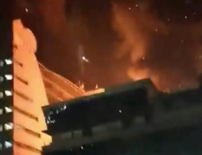 Fire rages at a multi-storey building in Mumbai, India, in this still image taken from a social media video, on 29 December 2017