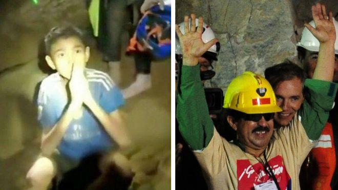 Niño en la cueva de Tailandai y uno de los mineros rescatados en 2010